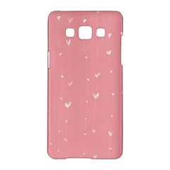 Pink background with white hearts on lines Samsung Galaxy A5 Hardshell Case