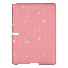 Pink background with white hearts on lines Samsung Galaxy Tab S (10.5 ) Hardshell Case