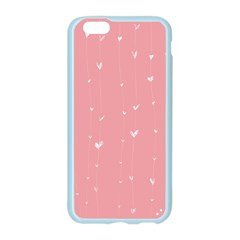 Pink background with white hearts on lines Apple Seamless iPhone 6/6S Case (Color)