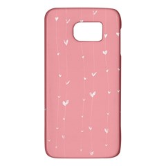 Pink background with white hearts on lines Galaxy S6