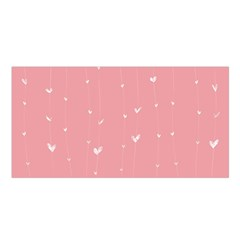 Pink background with white hearts on lines Satin Shawl