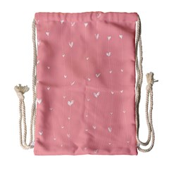 Pink background with white hearts on lines Drawstring Bag (Large)