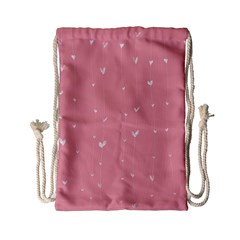 Pink background with white hearts on lines Drawstring Bag (Small)