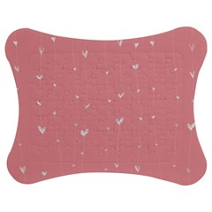 Pink background with white hearts on lines Jigsaw Puzzle Photo Stand (Bow)