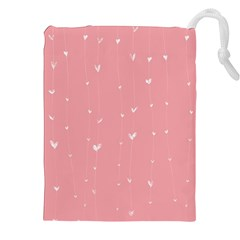 Pink background with white hearts on lines Drawstring Pouches (XXL)