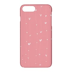 Pink background with white hearts on lines Apple iPhone 7 Plus Hardshell Case