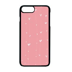 Pink background with white hearts on lines Apple iPhone 7 Plus Seamless Case (Black)