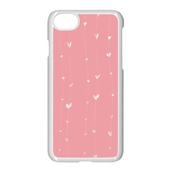 Pink background with white hearts on lines Apple iPhone 7 Seamless Case (White)