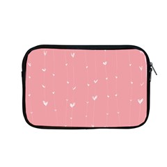 Pink background with white hearts on lines Apple MacBook Pro 13  Zipper Case