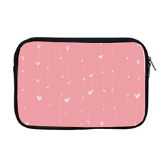 Pink background with white hearts on lines Apple MacBook Pro 17  Zipper Case