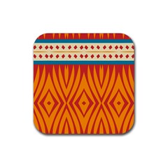 Shapes in retro colors       Rubber Square Coaster (4 pack