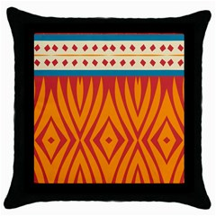 Shapes in retro colors       Throw Pillow Case (Black)