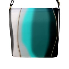 Turquoise Abstract Flap Messenger Bag (L)