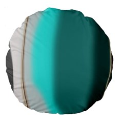 Turquoise Abstract Large 18  Premium Flano Round Cushions
