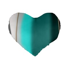 Turquoise Abstract Standard 16  Premium Flano Heart Shape Cushions