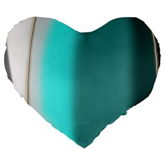 Turquoise Abstract Large 19  Premium Flano Heart Shape Cushions