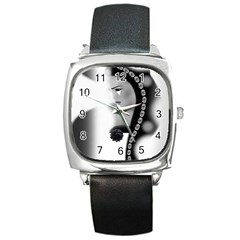 Silence Of Beauty Square Metal Watch