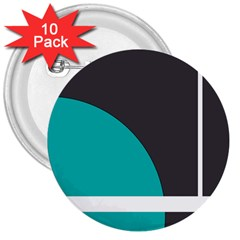 Turquoise Line 3  Buttons (10 pack)