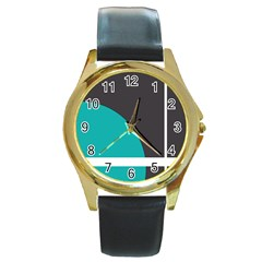Turquoise Line Round Gold Metal Watch