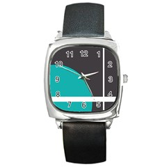 Turquoise Line Square Metal Watch