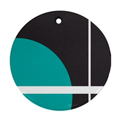 Turquoise Line Round Ornament (Two Sides)