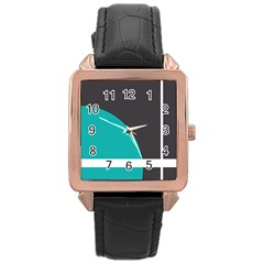 Turquoise Line Rose Gold Leather Watch