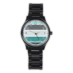 Blues Stainless Steel Round Watch