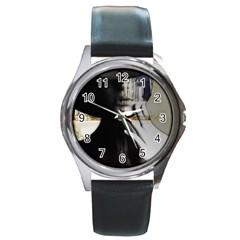 Burnt Round Metal Watch