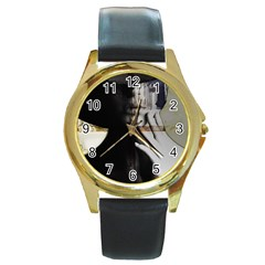 Burnt Round Gold Metal Watch