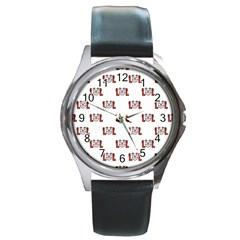 Lol Emoji Graphic Pattern Round Metal Watch