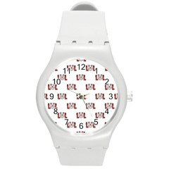 Lol Emoji Graphic Pattern Round Plastic Sport Watch (M)