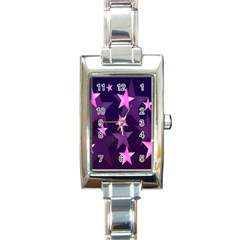 Background With A Stars Rectangle Italian Charm Watch