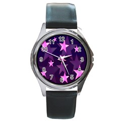 Background With A Stars Round Metal Watch