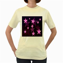 Background With A Stars Women s Yellow T Shirt