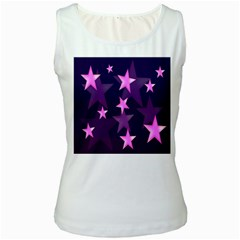 Background With A Stars Women s White Tank Top