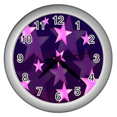 Background With A Stars Wall Clocks (Silver)