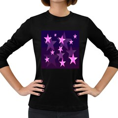 Background With A Stars Women s Long Sleeve Dark T Shirts