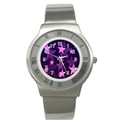Background With A Stars Stainless Steel Watch