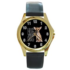 Chihuahua Round Gold Metal Watch
