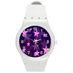Background With A Stars Round Plastic Sport Watch (m)