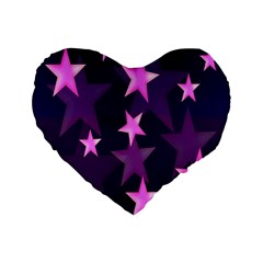 Background With A Stars Standard 16  Premium Flano Heart Shape Cushions