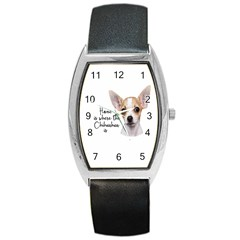 Chihuahua Barrel Style Metal Watch