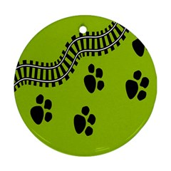 Green Prints Next To Track Ornament (Round)
