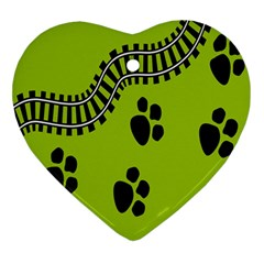 Green Prints Next To Track Ornament (heart)
