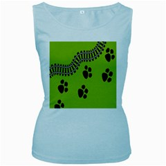 Green Prints Next To Track Women s Baby Blue Tank Top