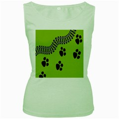 Green Prints Next To Track Women s Green Tank Top