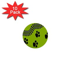 Green Prints Next To Track 1  Mini Buttons (10 pack)
