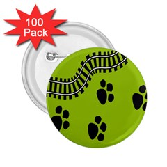 Green Prints Next To Track 2.25  Buttons (100 pack)