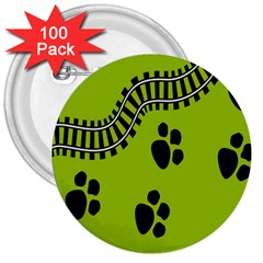 Green Prints Next To Track 3  Buttons (100 pack)