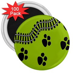Green Prints Next To Track 3  Magnets (100 pack)